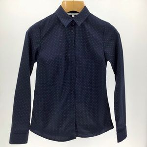 Alfred Sung Button-Down Navy w/White Polka Dots XS